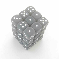 DICE SET 12mm FROSTED SMOKE/WHITE