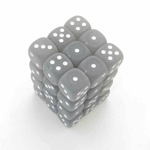 Chessex DICE SET 12mm FROSTED SMOKE/WHITE