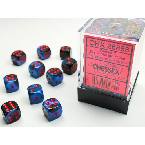 Chessex DICE SET 12mm GEMINI BLACK STARLIGHT-RED