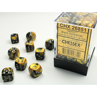 DICE SET 12mm GEMINI BLACK-GOLD/SILVER