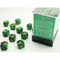 DICE SET 12mm GEMINI BLACK-GREEN/GOLD