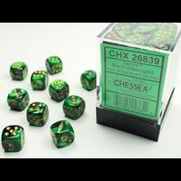 DICE SET 12mm GEMINI BLACK-GREEN/GOLD