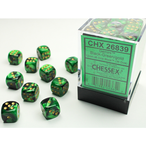 Chessex DICE SET 12mm GEMINI BLACK-GREEN/GOLD