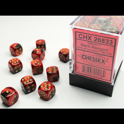 Chessex DICE SET 12mm GEMINI BLACK-RED/GOLD
