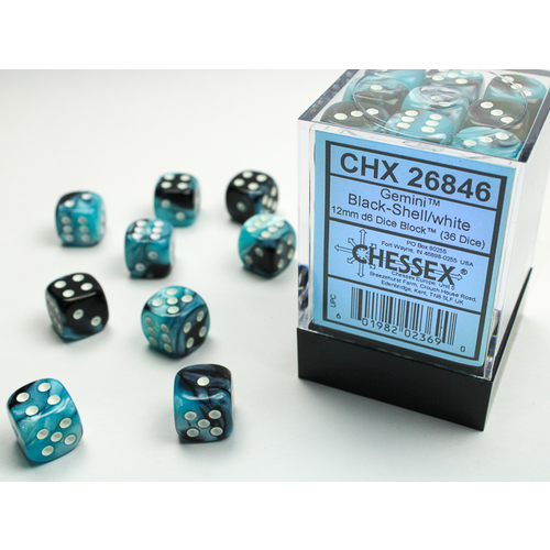 Chessex DICE SET 12mm GEMINI BLACK-SHELL/WHITE