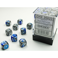 DICE SET 12mm GEMINI BLUE-STEEL/WHITE