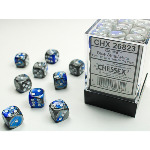 Chessex DICE SET 12mm GEMINI BLUE-STEEL/WHITE