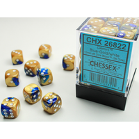DICE SET 12mm GEMINI BLUE-GOLD/WHITE