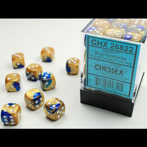 Chessex DICE SET 12mm GEMINI BLUE-GOLD/WHITE