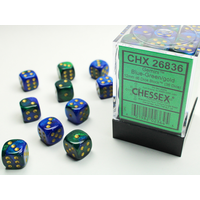 DICE SET 12mm GEMINI BLUE-GREEN/GOLD