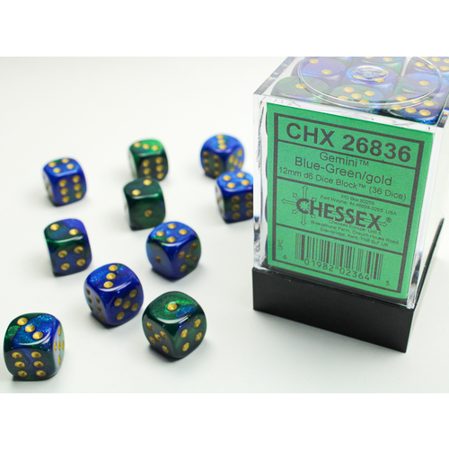 Chessex DICE SET 12mm GEMINI BLUE-GREEN/GOLD