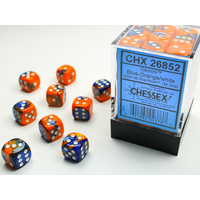 DICE SET 12mm GEMINI BLUE-ORANGE/WHITE