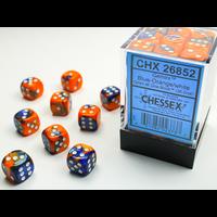 DICE SET 12mm GEMINI BLUE-ORANGE/WHITE