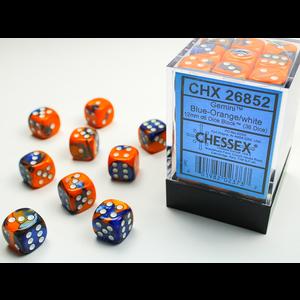 Chessex DICE SET 12mm GEMINI BLUE-ORANGE/WHITE