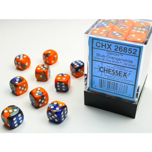 Chessex DICE SET 12mm GEMINI BLUE-ORANGE/WHITE