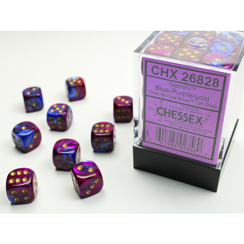 Chessex DICE SET 12mm GEMINI BLUE-PURPLE/GOLD