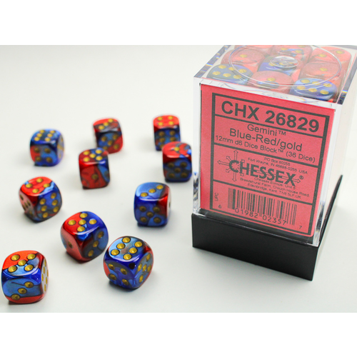 Chessex DICE SET 12mm GEMINI BLUE-RED/GOLD