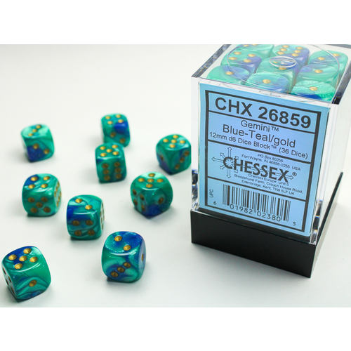 Chessex DICE SET 12mm GEMINI BLUE-TEAL/GOLD