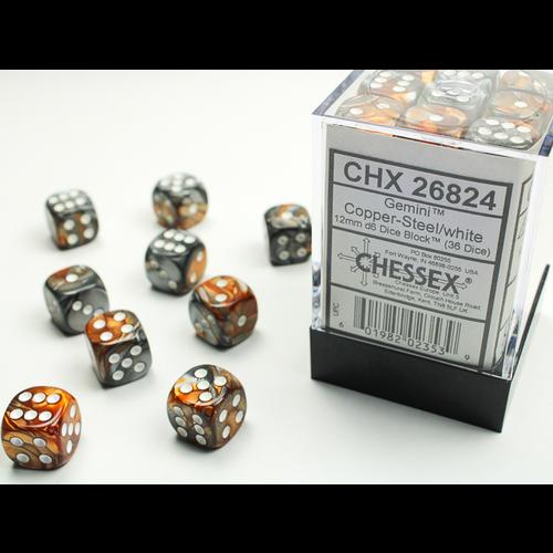 Chessex DICE SET 12mm GEMINI COPPER-STEEL/WHITE