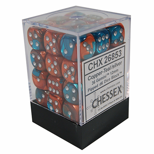 Chessex DICE SET 12mm GEMINI COPPER-TEAL/SILVER