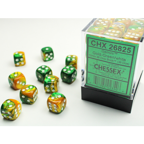 Chessex DICE SET 12mm GEMINI GOLD-GREEN/WHITE