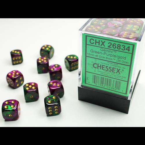 Chessex DICE SET 12mm GEMINI GREEN / PURPLE