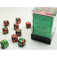 DICE SET 12mm GEMINI GREEN-RED/WHITE