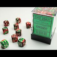 DICE SET 12mm GEMINI GREEN-RED/WHITE