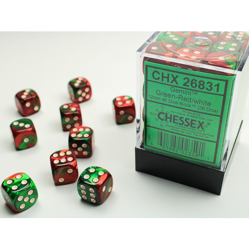 Chessex DICE SET 12mm GEMINI GREEN-RED/WHITE