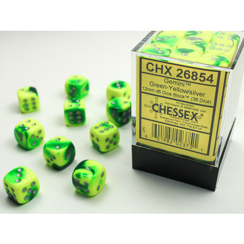 Chessex DICE SET 12mm GEMINI GREEN-YELLOW/SILVER