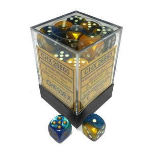 Chessex DICE SET 12mm GEMINI MASQUERADE-YELLOW