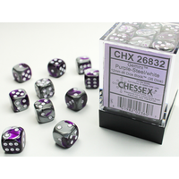 DICE SET 12mm GEMINI PURPLE-STEEL/WHITE