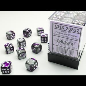 Chessex DICE SET 12mm GEMINI PURPLE-STEEL/WHITE
