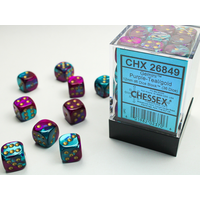DICE SET 12mm GEMINI PURPLE-TEAL/GOLD