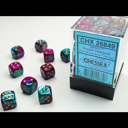 Chessex DICE SET 12mm GEMINI PURPLE-TEAL/GOLD