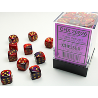 DICE SET 12mm GEMINI PURPLE-RED/GOLD