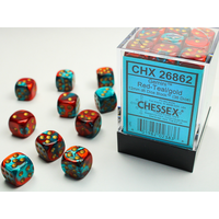 DICE SET 12mm GEMINI RED-TEAL/GOLD