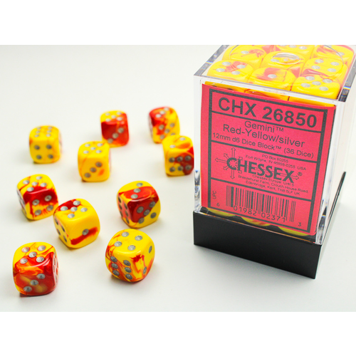 Chessex DICE SET 12mm GEMINI RED-YELLOW/SILVER
