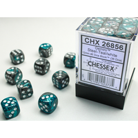 DICE SET 12mm GEMINI STEEL-TEAL/WHITE