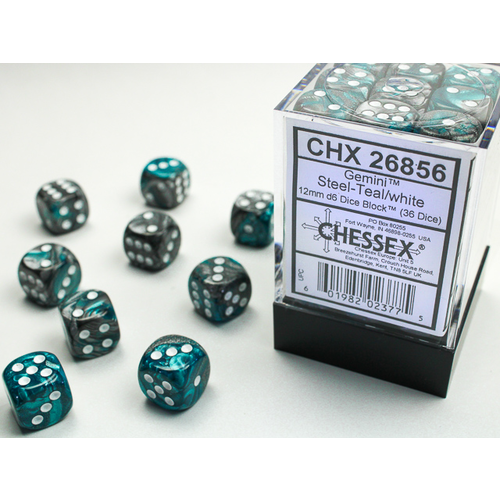 Chessex DICE SET 12mm GEMINI STEEL-TEAL/WHITE
