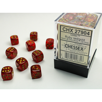 DICE SET 12mm GLITTER RUBY RED/GOLD