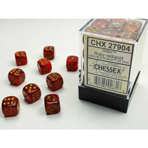 Chessex DICE SET 12mm GLITTER RUBY RED/GOLD