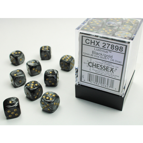 Chessex DICE SET 12mm LUSTROUS BLACK/GOLD