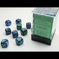 DICE SET 12mm LUSTROUS DARK BLUE/GREEN