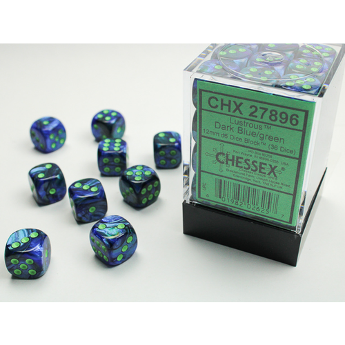 Chessex DICE SET 12mm LUSTROUS DARK BLUE/GREEN