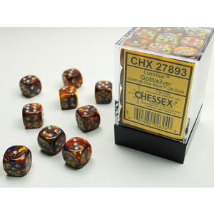 Chessex DICE SET 12mm LUSTROUS GOLD-SILVER