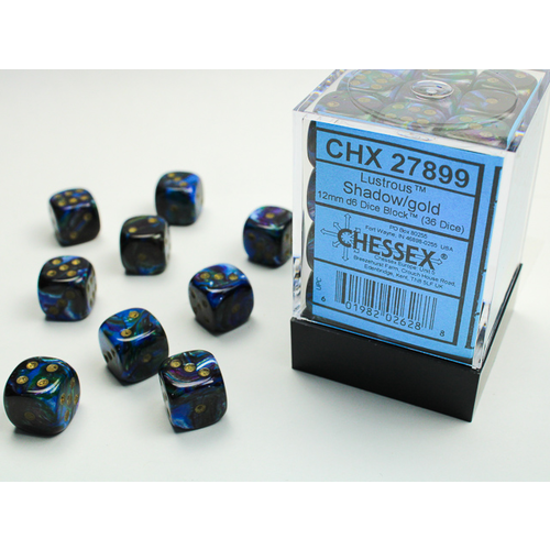 Chessex DICE SET 12mm LUSTROUS SHADOW-GOLD