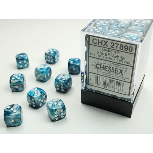 Chessex DICE SET 12mm LUSTROUS SLATE-WHITE