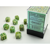 DICE SET 12mm MARBLE GREEN-DARK GREEN