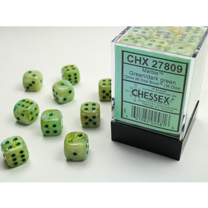 Chessex DICE SET 12mm MARBLE GREEN-DARK GREEN